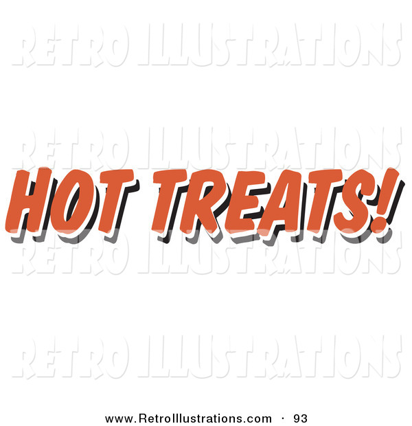 Retro Illustration of a Red Hot Treats Restaurant Sign on White