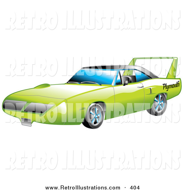 Retro Illustration of a Restored Green 1970 Plymouth Road Runner Superbird Racing Car with a Large Spoiler in the Back