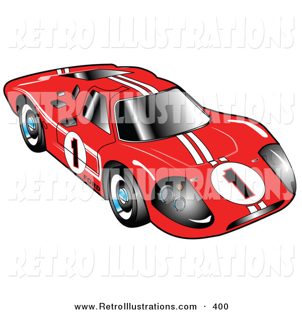 Retro Illustration of a Restored Red 1967 Ford Mark IV GT40 Racing Car with White Stripes and the Number 1