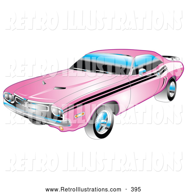 Retro Illustration of a Retro 1971 Dodge Challenger Muscle Car in Pink with Black Racing Stripes on the Sides
