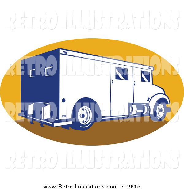 Retro Illustration of a Retro Armored Bank Van in a Yellow Oval