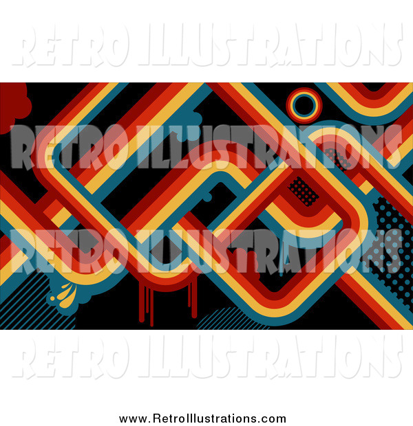 Retro Illustration of a Retro Background of Red, Orange, Yellow and Blue Lines and Drips over Black