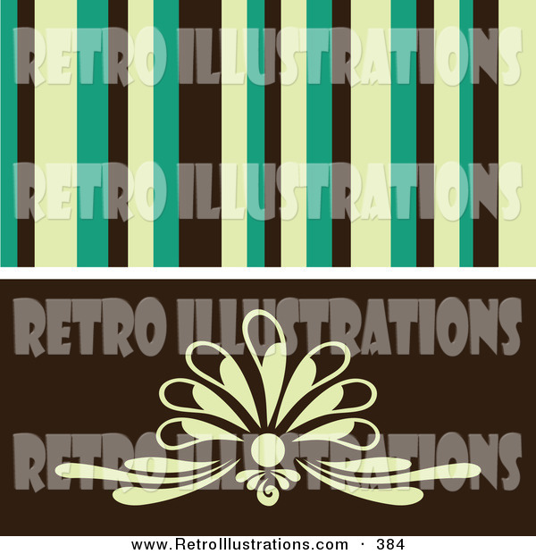 Retro Illustration of a Retro Background of Yellow, Green and Black Stipes over a Simple Floral Design