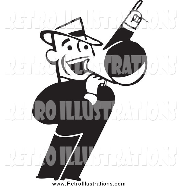 Retro Illustration of a Retro Black and White Business Man Announcing with a Megaphone