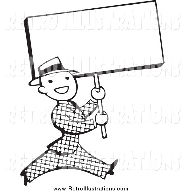 Retro Illustration of a Retro Black and White Businessman Walking with a Blank Sign