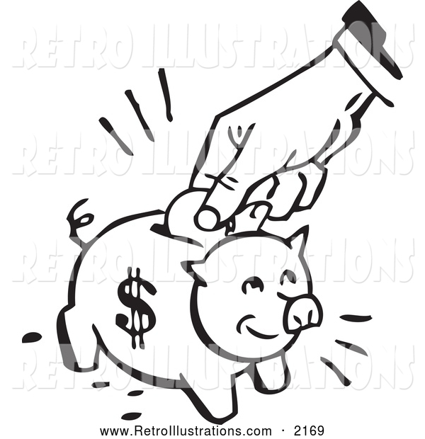 Retro Illustration of a Retro Black and White Hand Depositing a Coin into a Piggy Bank