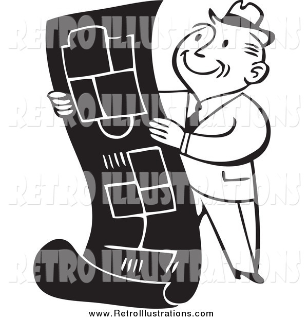 Retro Illustration of a Retro Black and White Happy Business Man Reviewing Blueprints