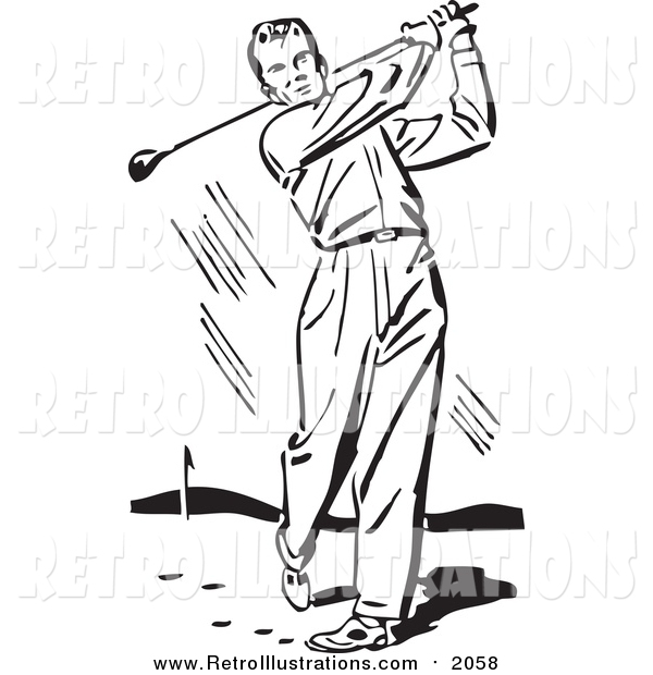 Retro Illustration of a Retro Black and White Man Swinging a Golf Club