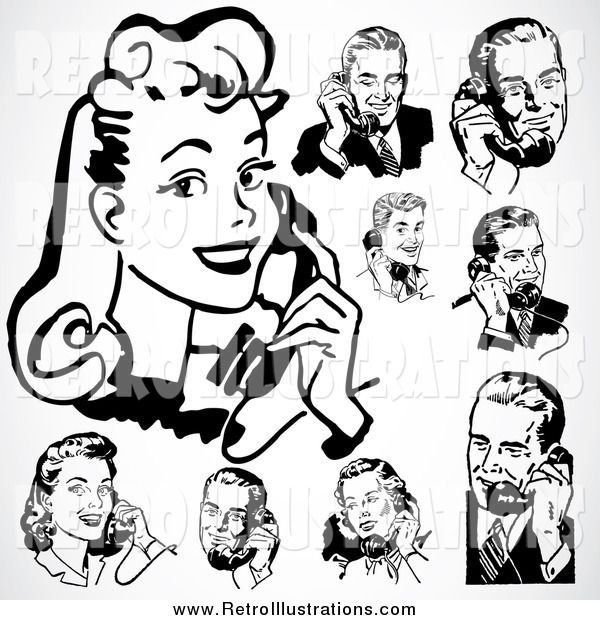 Retro Illustration of a Retro Black and White Men and Women Using Phones over Gray