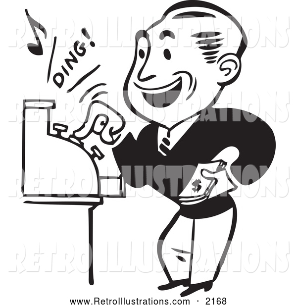 Retro Illustration of a Retro Black and White Merchant Operating a Cash Register
