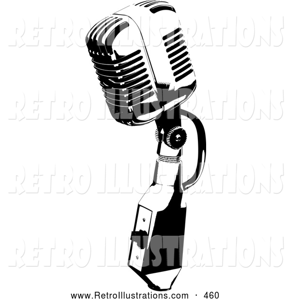 Retro Illustration of a Retro Black and White Microphone Speaker