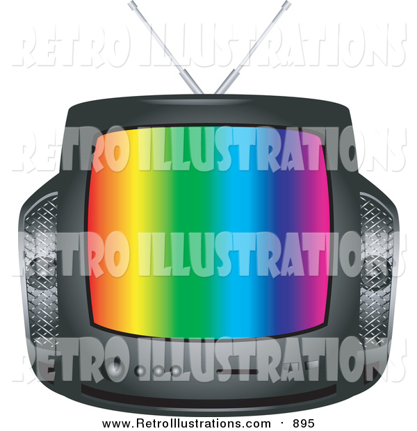 Retro Illustration of a Retro Black Box Television with Colorful Stripes