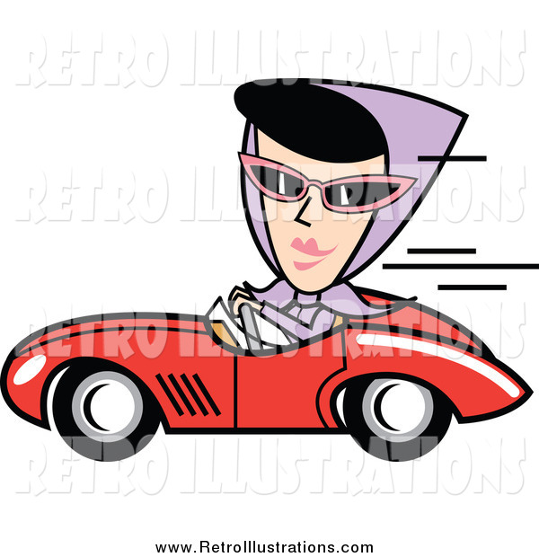 Retro Illustration of a Retro Black Haired White Woman Driving a Red Convertible Car
