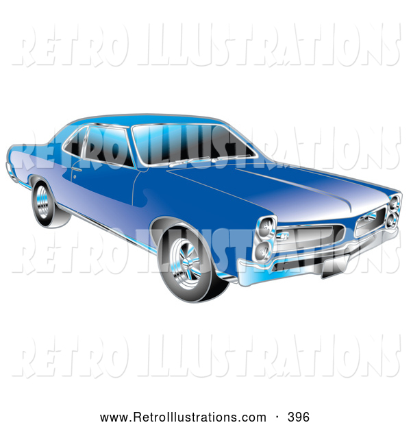 Retro Illustration of a Retro Blue 1966 Pontiac GTO Muscle Car with Crhome Detailing on the Front End and Around the Windows
