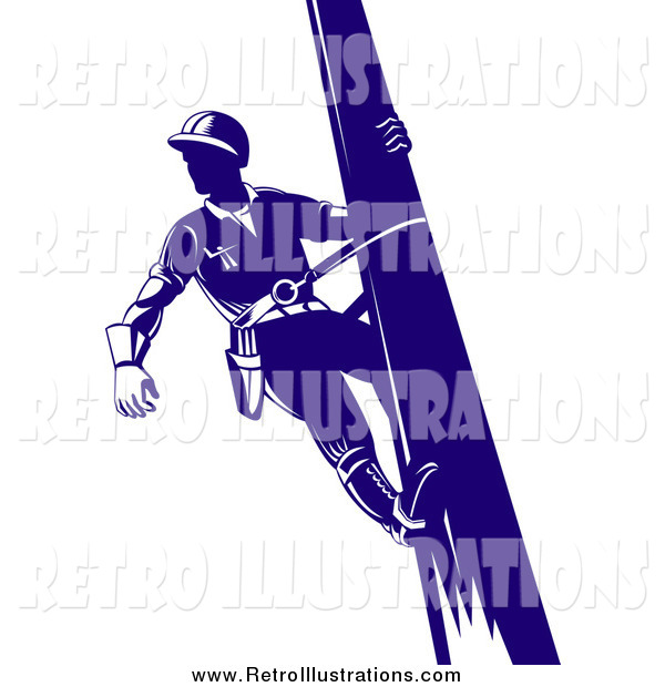 Retro Illustration of a Retro Blue Lineman on a Pole