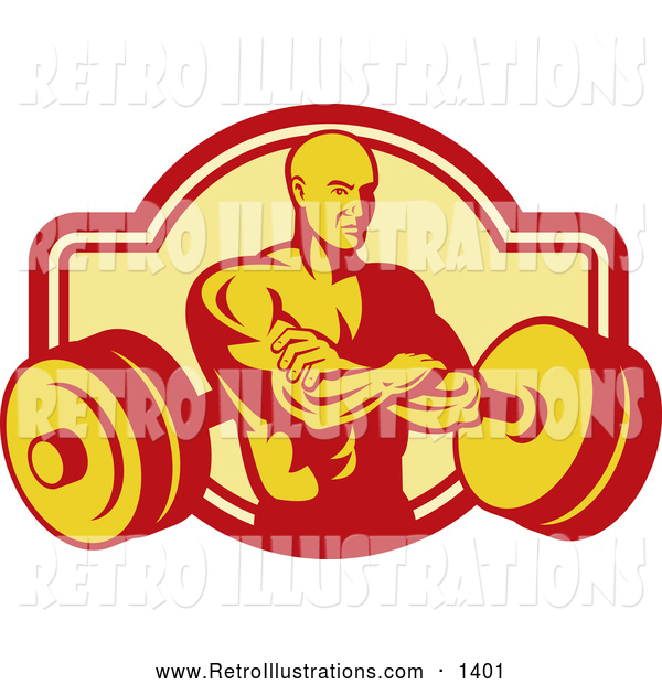 Retro Illustration of a Retro Bodybuilder with Folded Arms and a Barbell
