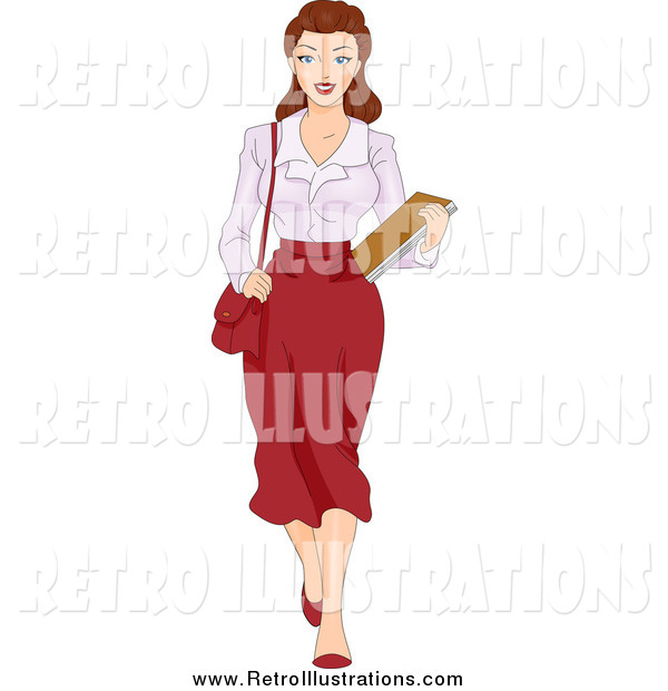 Retro Illustration of a Retro Brunette Female Secretary Carrying Documents