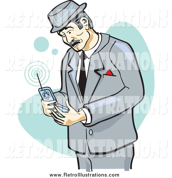 Retro Illustration of a Retro Businessman Glancing at a Cell Phone