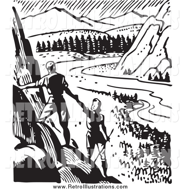 Retro Illustration of a Retro Couple Hiking and Viewing a Valley