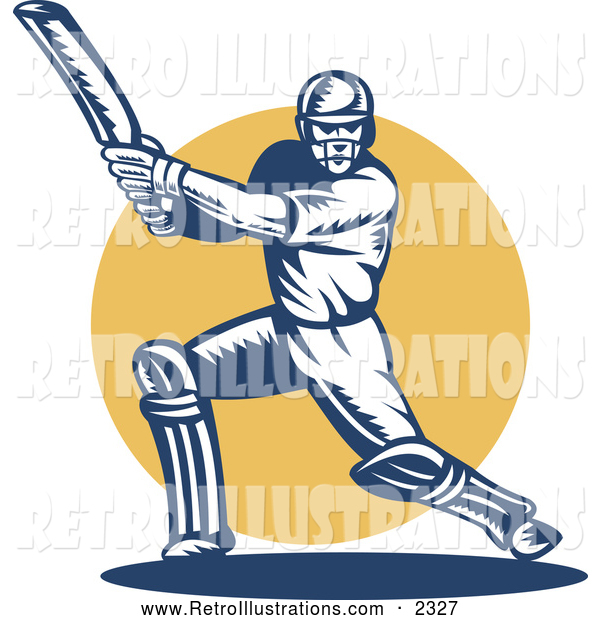 Retro Illustration of a Retro Cricket Batsman