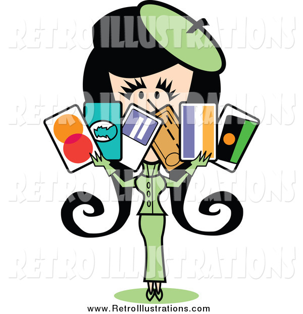 Retro Illustration of a Retro Lady in a Green Suit, Holding a Bunch of Credit Cards