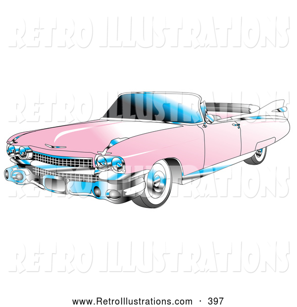 Retro Illustration of a Retro Pink Convertible 1959 Cadillac Car with Chrome Accents and the Top down