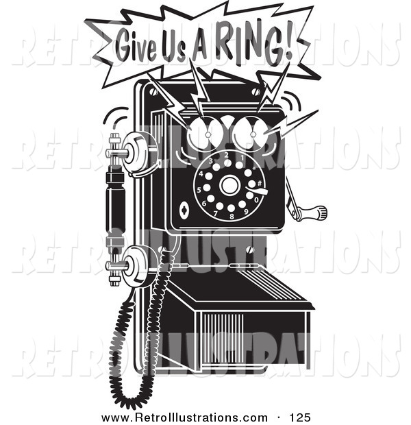 Retro Illustration of a Retro Ringing Black and White Wall Telephone