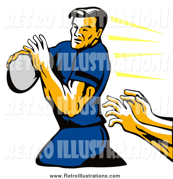 Retro Illustration of a Retro Rugby Football Player and Hands Reaching