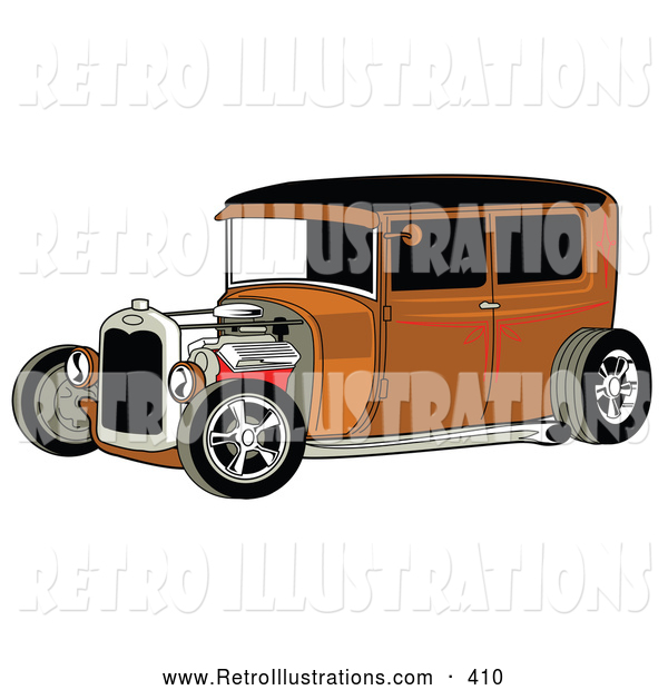 Retro Illustration of a Retro Rust Brown Vintage Rat Rod Car with a Black Roof, Red Accents and Chrome Wheels