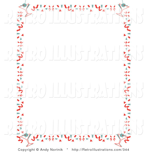 Retro Illustration of a Retro Stationery Background of with a Border of Confetti and Martinis