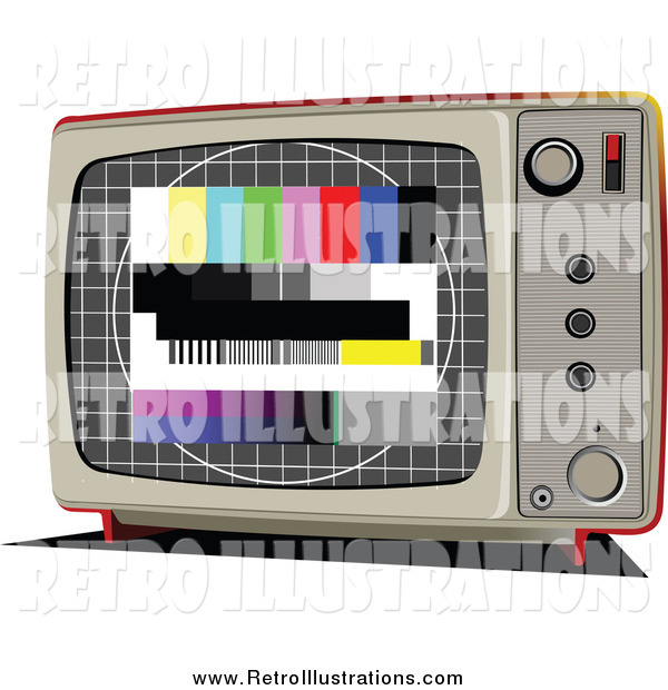Retro Illustration of a Retro TV with an Emergency Broadcast Screen