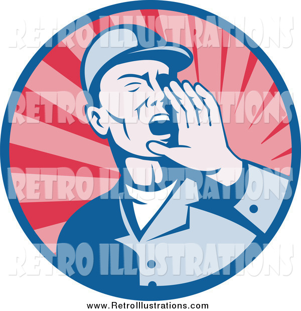 Retro Illustration of a Retro Worker Man Shouting in a Circle of Rays