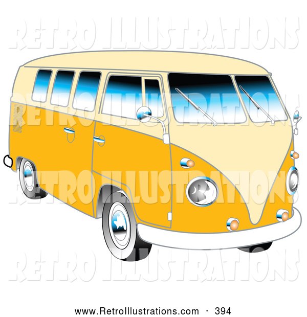 Retro Illustration of a Retro Yellow 1962 VW Bus with Chrome Detail and a Pale Yellow Roof and Accents