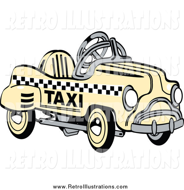 Retro Illustration of a Retro Yellow Toy Pedal Taxi Cab