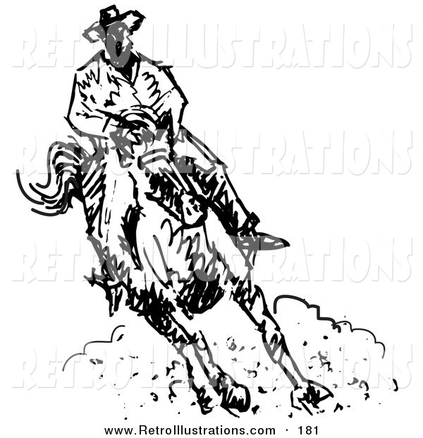 Retro Illustration of a Roper Cowboy on a Horse, Kicking up Dust