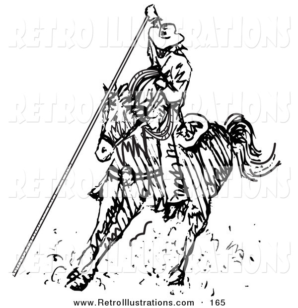Retro Illustration of a Roper Cowboy on a Horse, Using a Lasso to Catch a Cow or Horse and Kicking up Dust