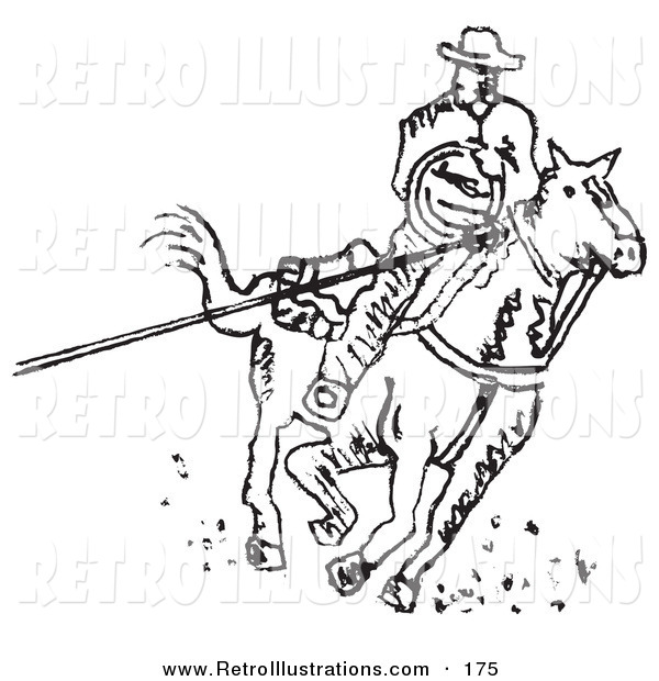 Retro Illustration of a Roper Cowboy on a Horse, Using a Lasso to Catch a Cow or Horse on a White Background