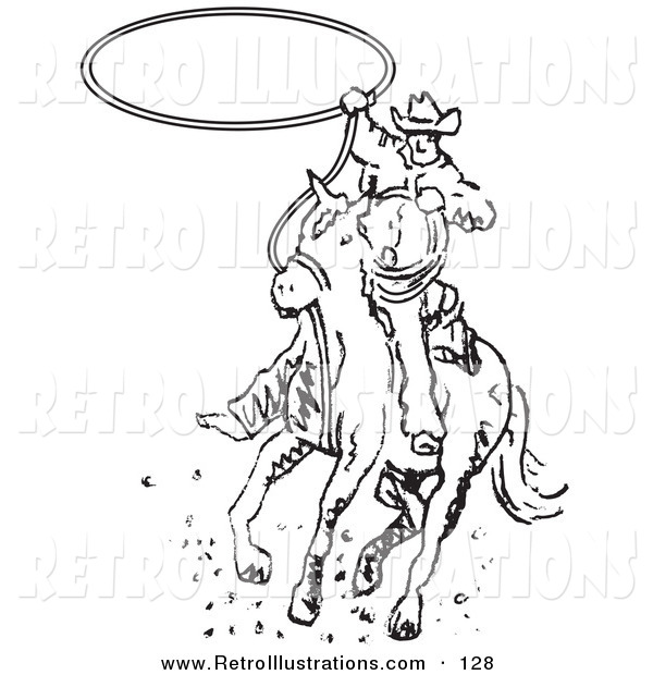 Retro Illustration of a Roper Cowboy on a Rodeo Horse Swinging a Lasso to Catch a Cow or Horse
