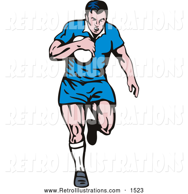 Retro Illustration of a Rugby Football Player in a Blue Uniform