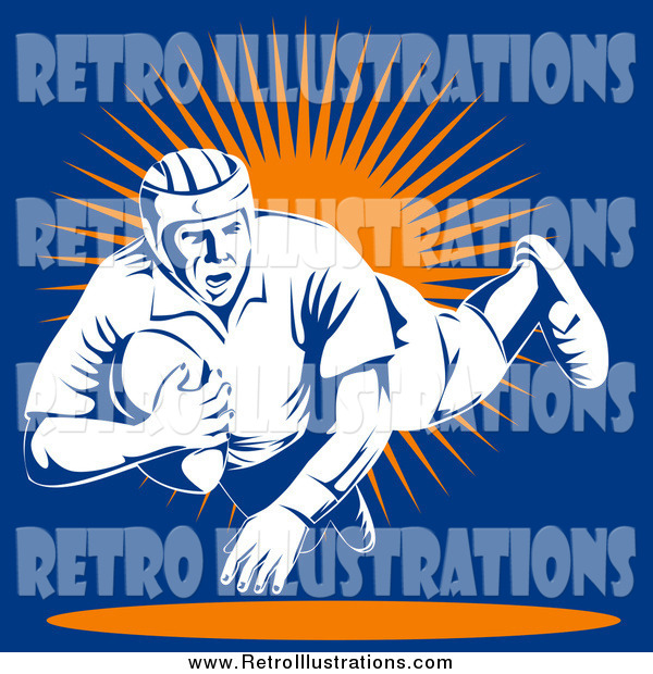 Retro Illustration of a Rugby Football Player Jumping