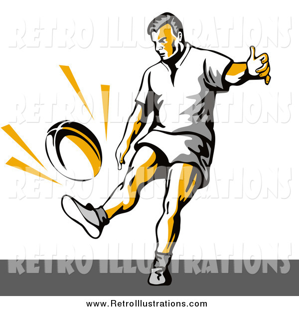 Retro Illustration of a Rugby Football Player Kicking