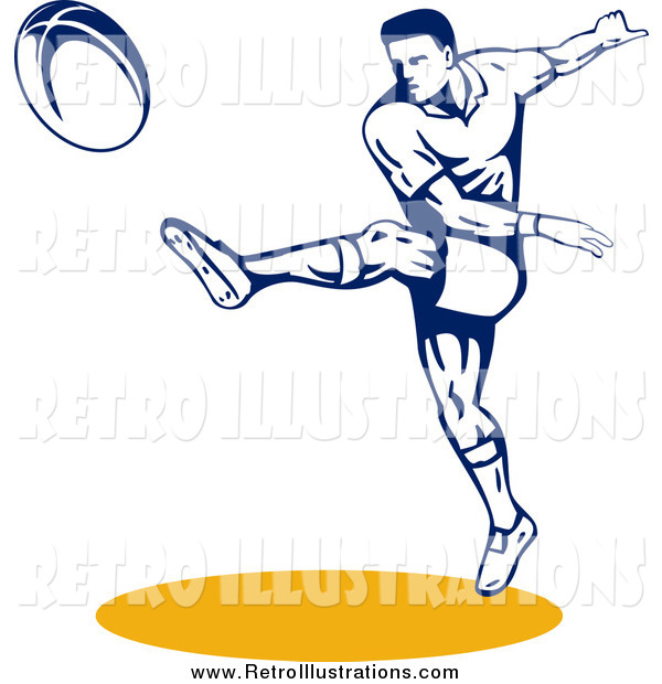 Retro Illustration of a Rugby Football Player Throwing