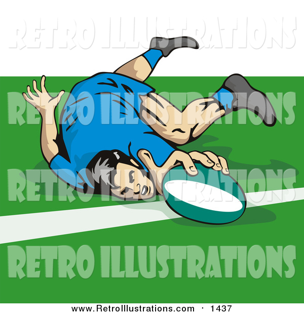Retro Illustration of a Rugby Football Player Touching the Line