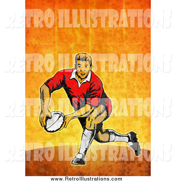Retro Illustration of a Rugby Player Passing
