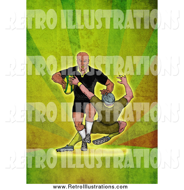 Retro Illustration of a Rugby Player Tackling over Green Grunge