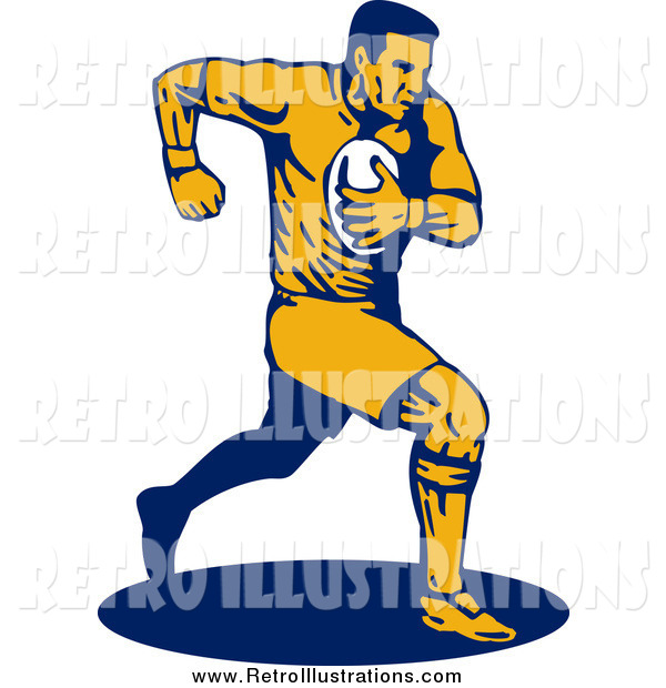 Retro Illustration of a Running Male Rugby Football Player