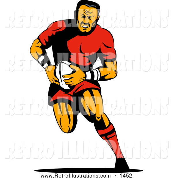 Retro Illustration of a Running Rugby Football Player