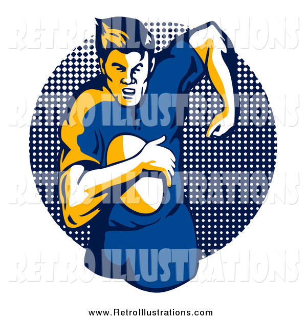 Retro Illustration of a Running Rugby Football Player over a Halftone Dot Circle