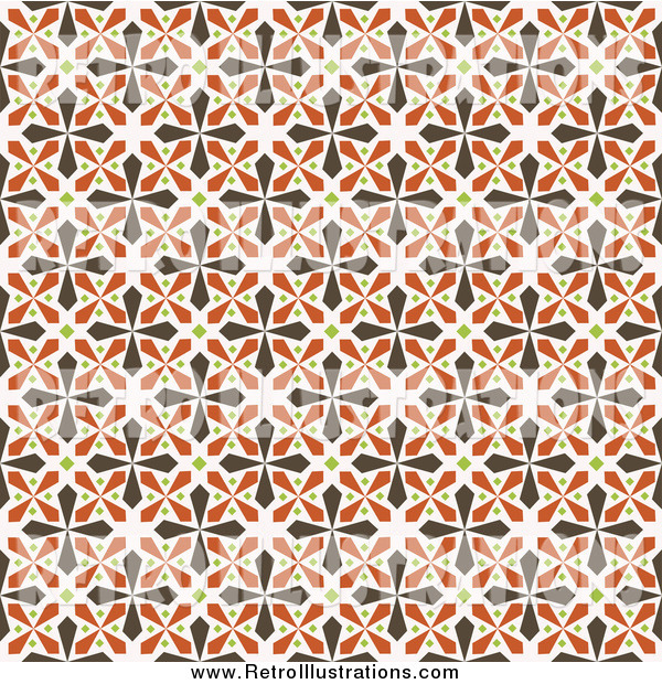 Retro Illustration of a Seamless Background of Brown, Green and Orange Kaleidoscope Crosses