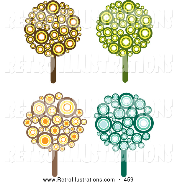 Retro Illustration of a Set of 4 Retro Styled Trees Made of Brown, Yellow, Orange, Green and Blue Circles